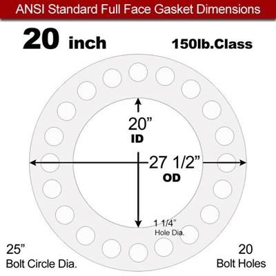 "Equalseal EQ 535exp Full Face Gasket - 150 Lb. - 1/8"" Thick - 20"" Pipe"