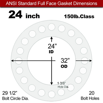 "Equalseal EQ 535exp Full Face Gasket - 150 Lb. - 1/8"" Thick - 24"" Pipe"