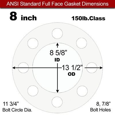 "Equalseal EQ 535exp Full Face Gasket - 150 Lb. - 1/8"" Thick - 8"" Pipe"