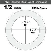 "Equalseal EQ 535exp Ring Gasket - 150 Lb. - 1/16"" Thick - 1/2"" Pipe"