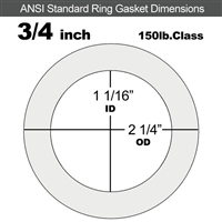"Equalseal EQ 535exp Ring Gasket - 150 Lb. - 1/16"" Thick - 3/4"" Pipe"