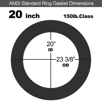 "Equalseal EQ 706 Inorganic Fiber and NBR Ring Gasket - 150 Lb. - 1/16"" Thick - 20"" Pipe"