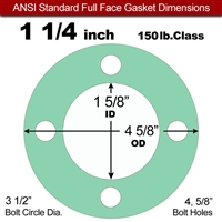 "EQ 750G N/A NBR Full Face Gasket - 150 Lb. - 1/16"" Thick - 1-1/4"" Pipe"