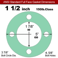 "EQ 750G N/A NBR Full Face Gasket - 150 Lb. - 1/16"" Thick - 1-1/2"" Pipe"