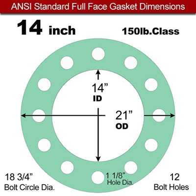 "EQ 750G N/A NBR Full Face Gasket - 150 Lb. - 1/16"" Thick - 14"" Pipe"