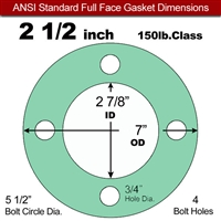 "EQ 750G N/A NBR Full Face Gasket - 150 Lb. - 1/16"" Thick - 2-1/2"" Pipe"