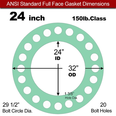 "EQ 750G N/A NBR Full Face Gasket - 150 Lb. - 1/16"" Thick - 24"" Pipe"