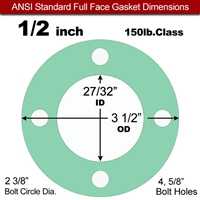 "EQ 750G N/A NBR Full Face Gasket - 150 Lb. - 1/8"" Thick - 1/2"" Pipe"