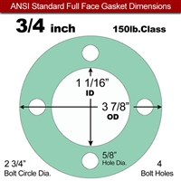 "EQ 750G N/A NBR Full Face Gasket - 150 Lb. - 1/8"" Thick - 3/4"" Pipe"