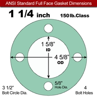 "EQ 750G N/A NBR Full Face Gasket - 150 Lb. - 1/8"" Thick - 1-1/4"" Pipe"