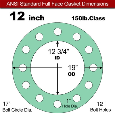 "EQ 750G N/A NBR Full Face Gasket - 150 Lb. - 1/8"" Thick - 12"" Pipe"