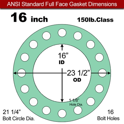 "EQ 750G N/A NBR Full Face Gasket - 150 Lb. - 1/8"" Thick - 16"" Pipe"