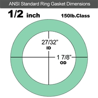 "EQ 750G N/A NBR Ring Gasket - 150 Lb. - 1/2"" Pipe"