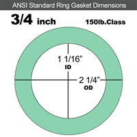 "EQ 750G N/A NBR Ring Gasket - 150 Lb. - 1/16"" Thick - 3/4"" Pipe"