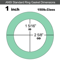 "EQ 750G N/A NBR Ring Gasket - 150 Lb. - 1/16"" Thick - 1"" Pipe"