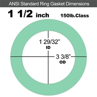 "EQ 750G N/A NBR Ring Gasket - 150 Lb. - 1/16"" Thick - 1-1/2"" Pipe"