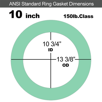 "EQ 750G N/A NBR Ring Gasket - 150 Lb. - 1/16"" Thick - 10"" Pipe"