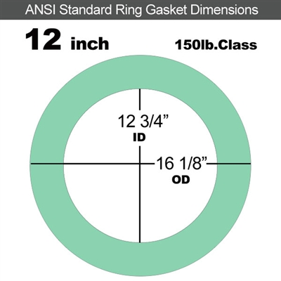 "EQ 750G N/A NBR Ring Gasket - 150 Lb. - 1/16"" Thick - 12"" Pipe"