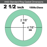 "EQ 750G N/A NBR Ring Gasket - 150 Lb. - 1/16"" Thick - 2-1/2"" Pipe"