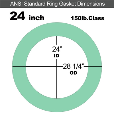 "EQ 750G N/A NBR Ring Gasket - 150 Lb. - 1/16"" Thick - 24"" Pipe"