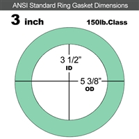 "EQ 750G N/A NBR Ring Gasket - 150 Lb. - 1/16"" Thick - 3"" Pipe"