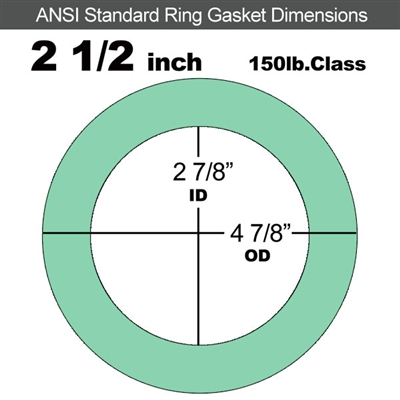 "EQ 750G N/A NBR Ring Gasket - 150 Lb. - 1/8"" Thick - 2-1/2"" Pipe"