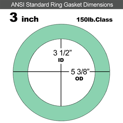 "EQ 750G N/A NBR Ring Gasket - 150 Lb. - 1/8"" Thick - 3"" Pipe"