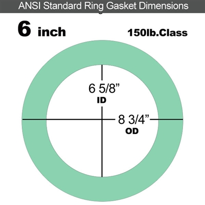 "EQ 750G N/A NBR Ring Gasket - 150 Lb. - 1/8"" Thick - 6"" Pipe"
