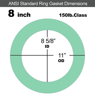 "EQ 750G N/A NBR Ring Gasket - 150 Lb. - 1/8"" Thick - 8"" Pipe"
