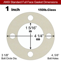 "Equalseal EQ 750W N/A NBR Full Face Gasket  150 Lb. - 1/16"" Thick - 1"" Pipe"