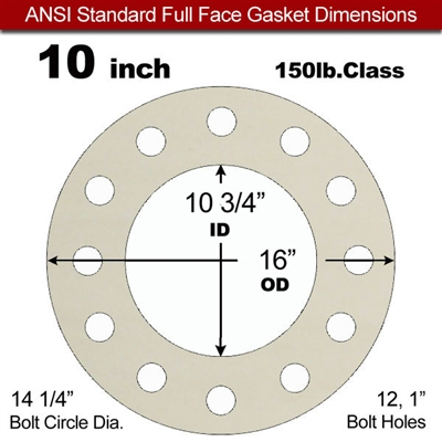 "Equalseal EQ 750W N/A NBR Full Face Gasket - 150 Lb. - 1/16"" Thick - 10"" Pipe"
