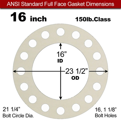 "Equalseal EQ 750W N/A NBR Full Face Gasket - 150 Lb. - 1/16"" Thick - 16"" Pipe"