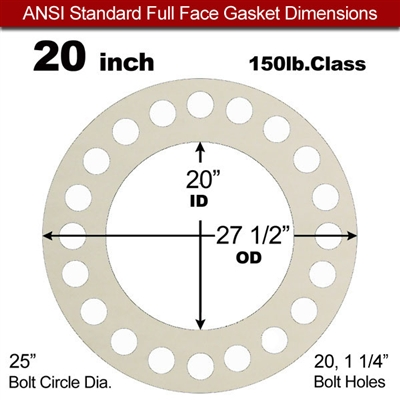 "Equalseal EQ 750W N/A NBR Full Face Gasket - 150 Lb. - 1/16"" Thick - 20"" Pipe"