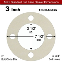 "Equalseal EQ 750W N/A NBR Full Face Gasket - 150 Lb. - 1/16"" Thick - 3"" Pipe"