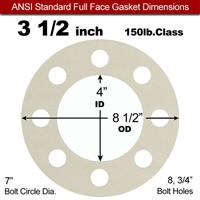 "Equalseal EQ 750W N/A NBR Full Face Gasket - 150 Lb. - 1/16"" Thick - 3-1/2"" Pipe"