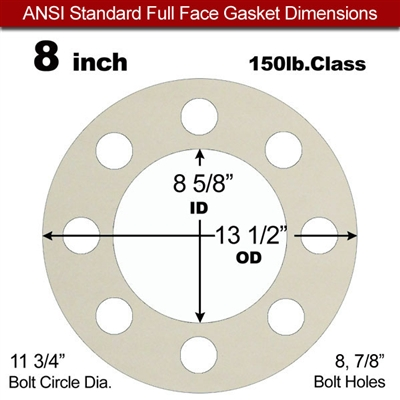 "Equalseal EQ 750W N/A NBR Full Face Gasket - 150 Lb. - 1/16"" Thick - 8"" Pipe"