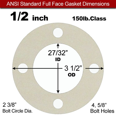 "Equalseal EQ 750W N/A NBR Full Face Gasket - 150 Lb. - 1/8"" Thick - 1/2"" Pipe"