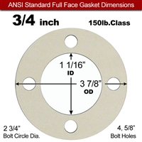 "Equalseal EQ 750W N/A NBR Full Face Gasket - 150 Lb. - 1/8"" Thick - 3/4"" Pipe"