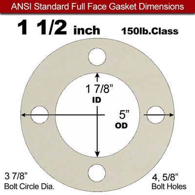 "Equalseal EQ 750W N/A NBR Full Face Gasket - 150 Lb. - 1/8"" Thick - 1-1/2"" Pipe"