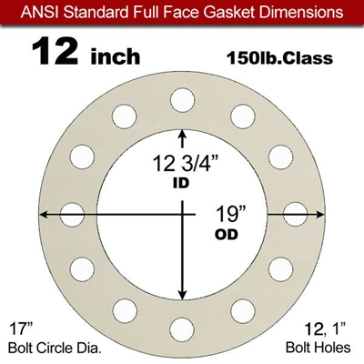 "Equalseal EQ 750W N/A NBR Full Face Gasket - 150 Lb. - 1/8"" Thick - 12"" Pipe"