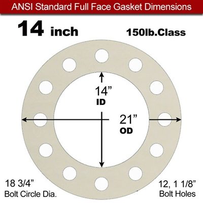 "Equalseal EQ 750W N/A NBR Full Face Gasket - 150 Lb. - 1/8"" Thick - 14"" Pipe"