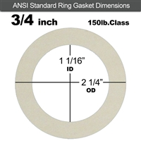 "Equalseal EQ 750W N/A NBR Ring Gasket - 150 Lb. - 1/16"" Thick - 3/4"" Pipe"