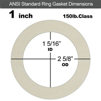 "Equalseal EQ 750W N/A NBR Ring Gasket - 150 Lb. - 1/16"" Thick - 1"" Pipe"
