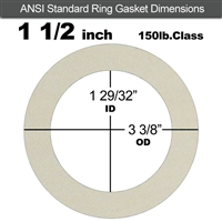 "Equalseal EQ 750W N/A NBR Ring Gasket - 150 Lb. - 1/16"" Thick - 1-1/2"" Pipe"