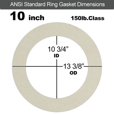 "Equalseal EQ 750W N/A NBR Ring Gasket - 150 Lb. - 1/16"" Thick - 10"" Pipe"