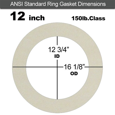"Equalseal EQ 750W N/A NBR Ring Gasket - 150 Lb. - 1/16"" Thick - 12"" Pipe"
