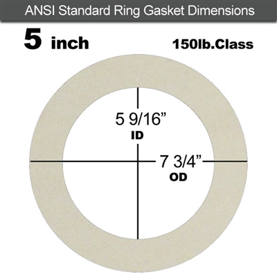 "Equalseal EQ 750W N/A NBR Ring Gasket - 150 Lb. - 1/16"" Thick - 5"" Pipe"