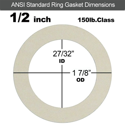 "Equalseal EQ 750W N/A NBR Ring Gasket - 150 Lb. - 1/8"" Thick - 1/2"" Pipe"