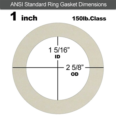 "Equalseal EQ 750W N/A NBR Ring Gasket - 150 Lb. - 1/8"" Thick - 1"" Pipe"