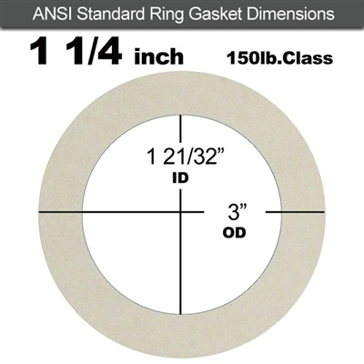 "Equalseal EQ 750W N/A NBR Ring Gasket - 150 Lb. - 1/8"" Thick - 1-1/4"" Pipe"
